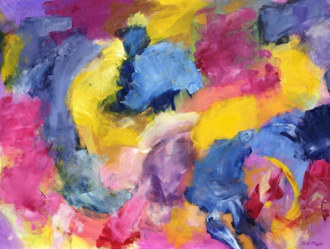 """SOLD - SILHOUETTE, Chloé Meyer original art, 30"""" X 40"""", abstract oil painting on canvas"""