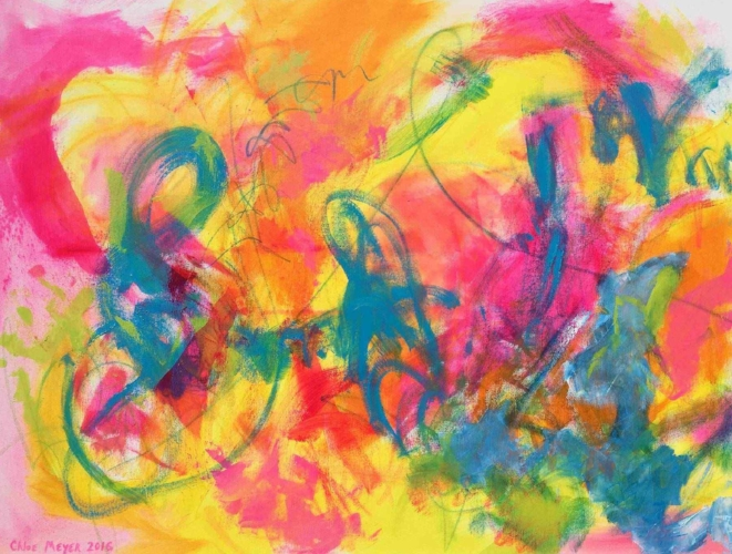 "Sold - VALERIE'S FAIRYTALE, Chloé Meyer original art, 30"" x 40"", abstract oil painting on canvas"