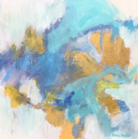 """Sold - LILY BLUE, Chloé Meyer original art, 24"""" X 24"""", abstract oil painting on canvas"""