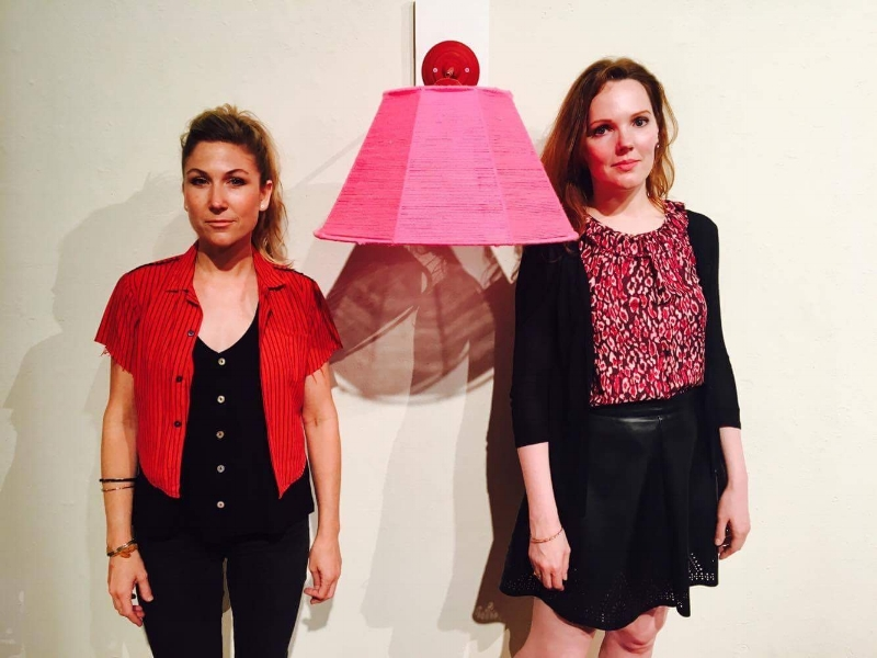 Dyanna Dimick and Chloé Meyer with their sculpture, Girl Talk