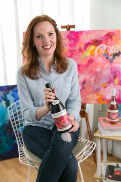 Emerging Abstract Artist Chloé Meyer Wins 2018 Georges Duboeuf Beaujolais Nouveau Label Competition Photo cred: Tory Putnam