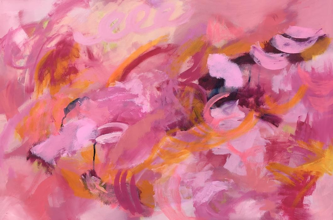 """QUIET FAITH, Chloé Meyer original art, 36"""" x 24"""", abstract oil painting on canvas"""