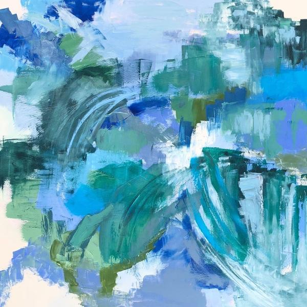 "FREE SPIRIT, Chloé Meyer original art, 24"" x 24"", abstract oil painting on linen"