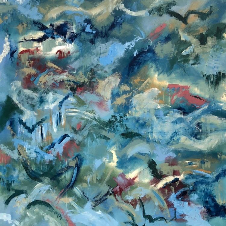 "DREAMS TAKE FLIGHT, Chloé Meyer original art, 60"" x 60"", abstract oil painting on canvas"