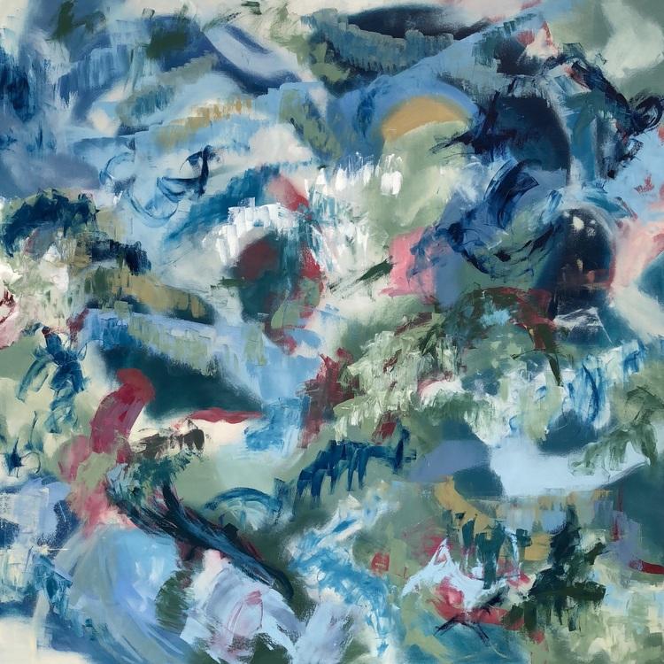 "FAR AWAY DREAMS, Chloé Meyer original art, 60"" x 60"", abstract oil painting on canvas"