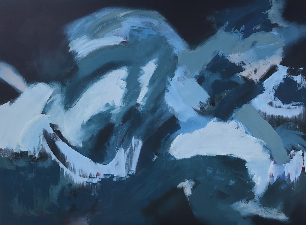 "MOONLIGHT, Chloé Meyer original art, 48"" x 36"", abstract oil painting on canvas"