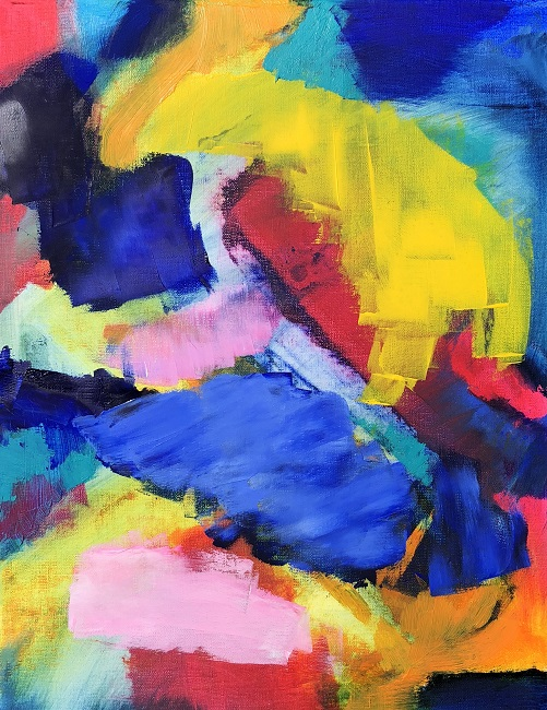 """RADIANCE 4, Chloé Meyer original art, 11"""" x 14"""", abstract oil painting on canvas"""