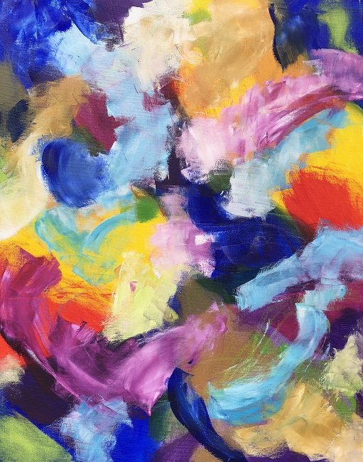 """RADIANCE 5, Chloé Meyer original art, 16"""" x 20"""", abstract oil painting on canvas"""
