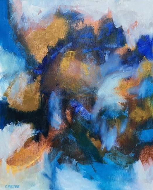 "BLUE EYES, Chloé Meyer original art, 20"" x 24"", abstract oil painting on canvas"