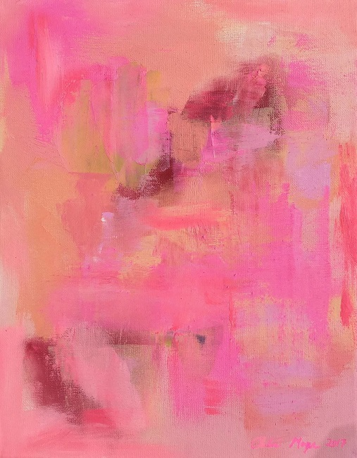 "JOY, Chloé Meyer original art, 11"" x 14"", abstract oil painting on canvas"