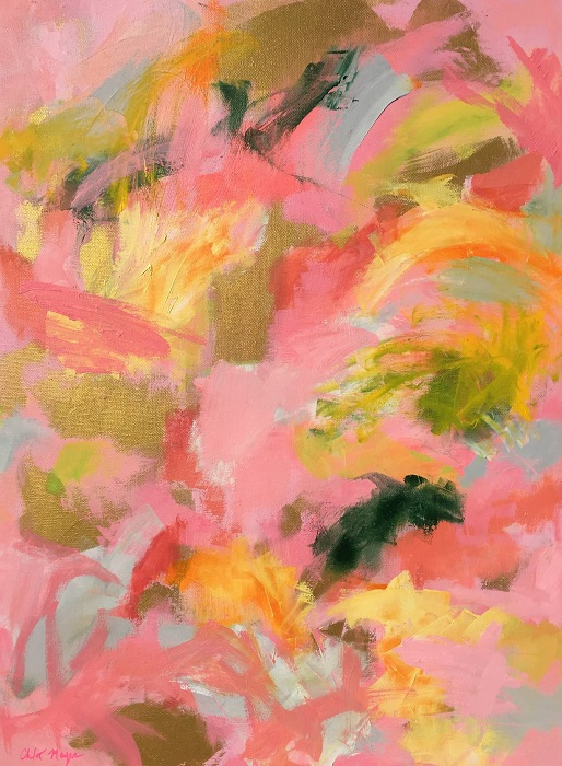 "SHERBERT SKIES 2, Chloé Meyer original art, 18"" X 20"", abstract oil painting on canvas"