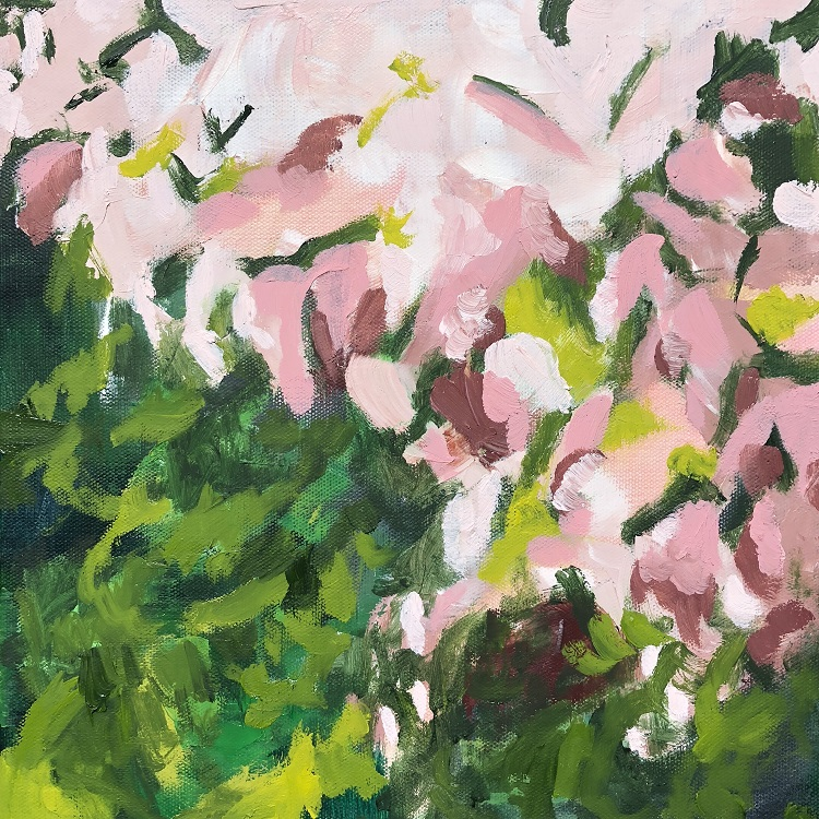 "CASCADE, Chloé Meyer original art, 12"" x 12"", abstract oil painting on canvas"