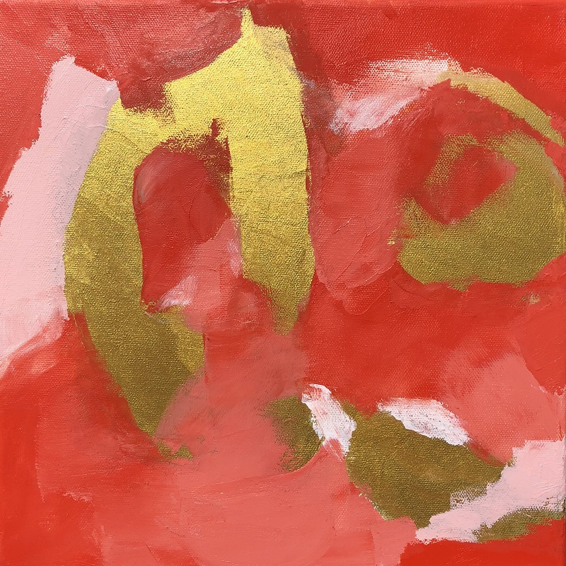 "WISHES, Chloé Meyer original artwork, 12"" x 12"", abstract oil painting on canvas"
