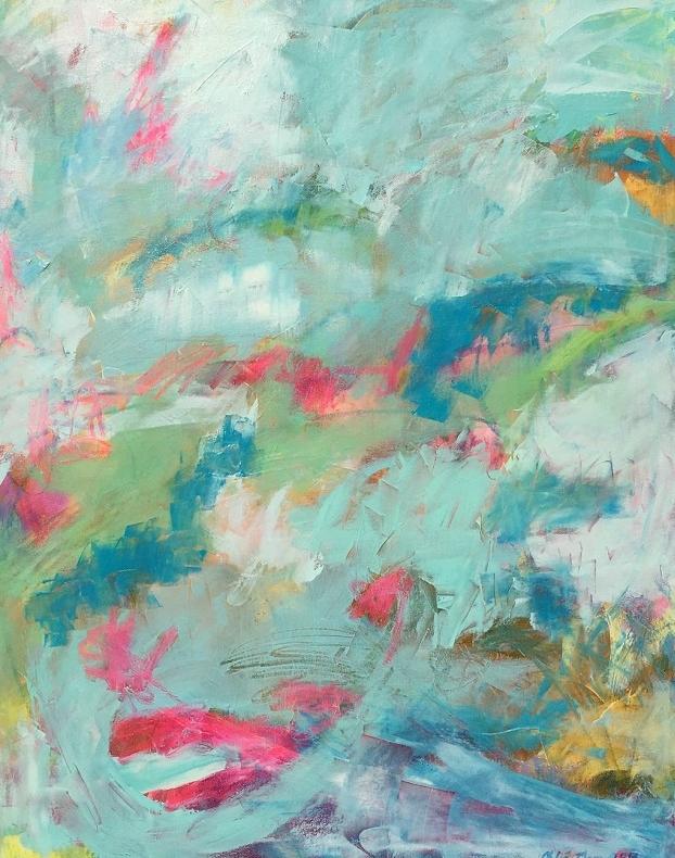 "WINDBREAKER, Chloé Meyer original art, 22"" x 28"", abstract oil painting on canvas"