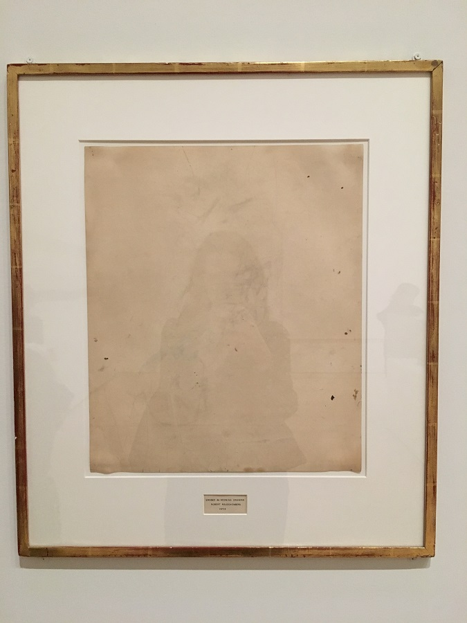I flipped out when I saw this. The famous erased De Kooning drawing by Robert Rauschenberg, image credit Chloe Meyer