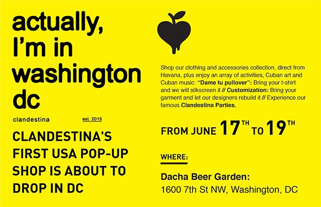 Cuba's first independent clothing brand @clandestina99 will hold its first U.S. pop-up shop in New York and Washington D.C. this month! See you there 😎 clandestinainnewyork.splashthat.com