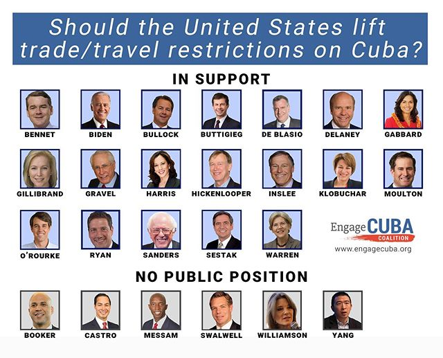 Here are all the 2020 Dem candidates and where they stand on Cuba. Join us in thanking the ones who support engagement and share this to show the ones in the bottom row that we need their support! 🇺🇸 🇨🇺 #cuba #embargo #miami #democrats