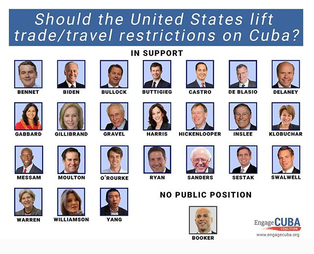 BREAKING: Nearly every single #Democratic presidential candidate is now on the record supporting engagement with #Cuba! 🇺🇸🇨🇺 #demdebate