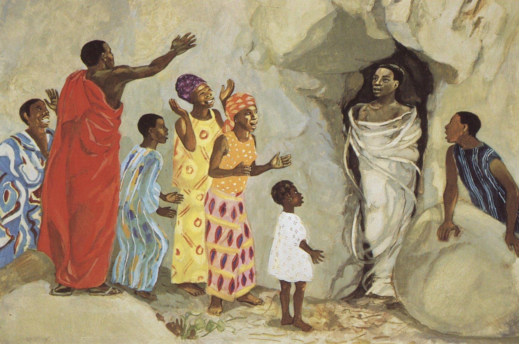 Jesus Mafa, Jesus Raises Lazarus to Life, Camaroon, 1973