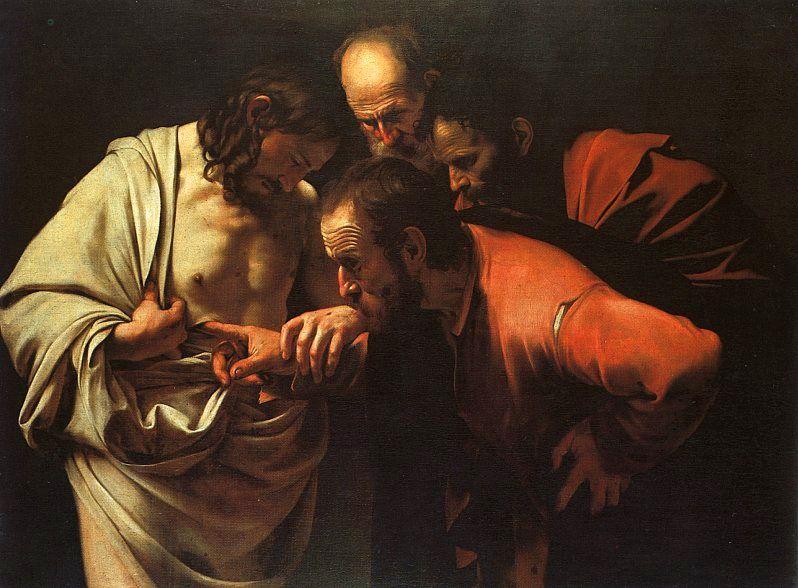 The Incredulity of St. Thomas, Caravaggio, Oil, c. 1601-02.