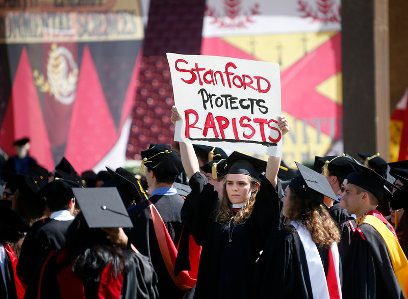 Stanford students protested during 2016 graduation against the university's handling of multiple sexual assault cases. Source:  East Bay Times . Many more photos of student posters held aloft during the Wacky Walk  here .
