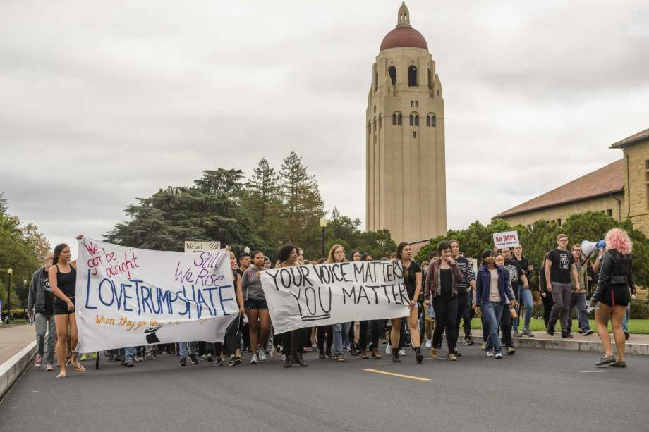"""Political Action on the Farm: Hundreds of Stanford students walked out of class to protest the incoming Trump administration's policies,calling for Stanford to make itself a """"sanctuary"""" campus. (Linda A. Cicero / Stanford News Service)"""