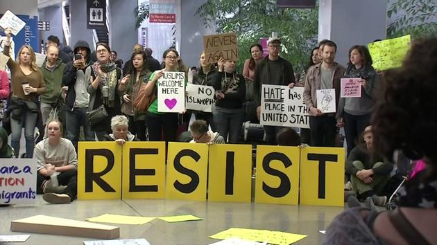 Citizens demonstrate against the immigration ban at SFO airport. Source: ABC 7 News