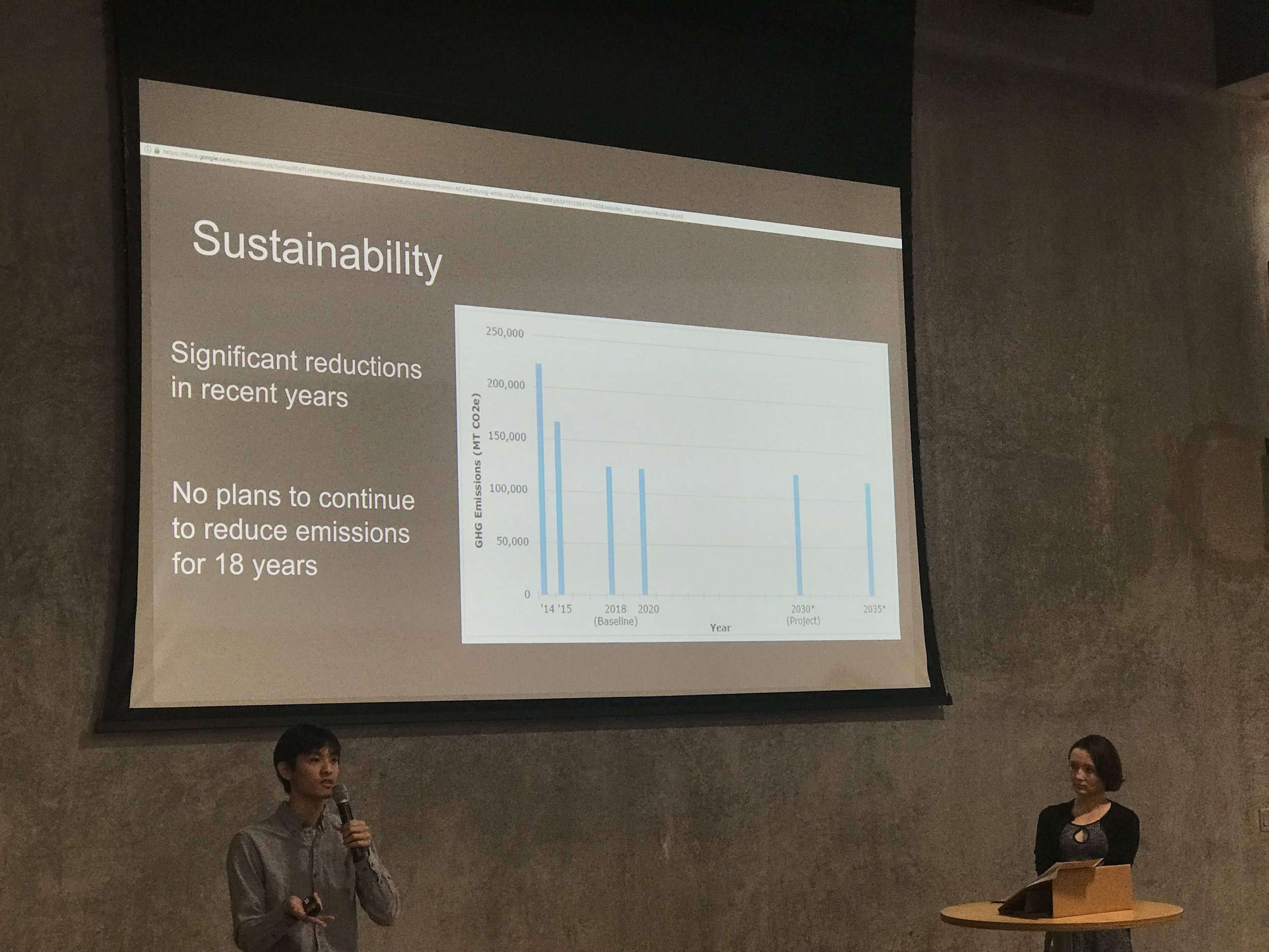 John Zhao '18 (Environmental Systems Engineering) and Courtney Pal '18 (Earth Systems and CSRE) speak at the Human Cities Expo.