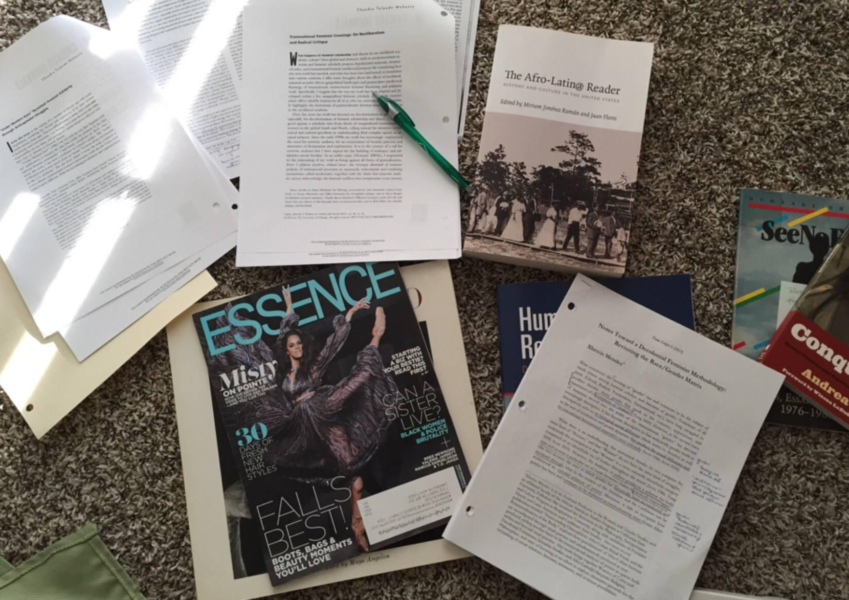 Photo: Tamara Butler (October 2015)                                                                                                          My living room floor as I prepared to write an article about #SayHerName and English Education.