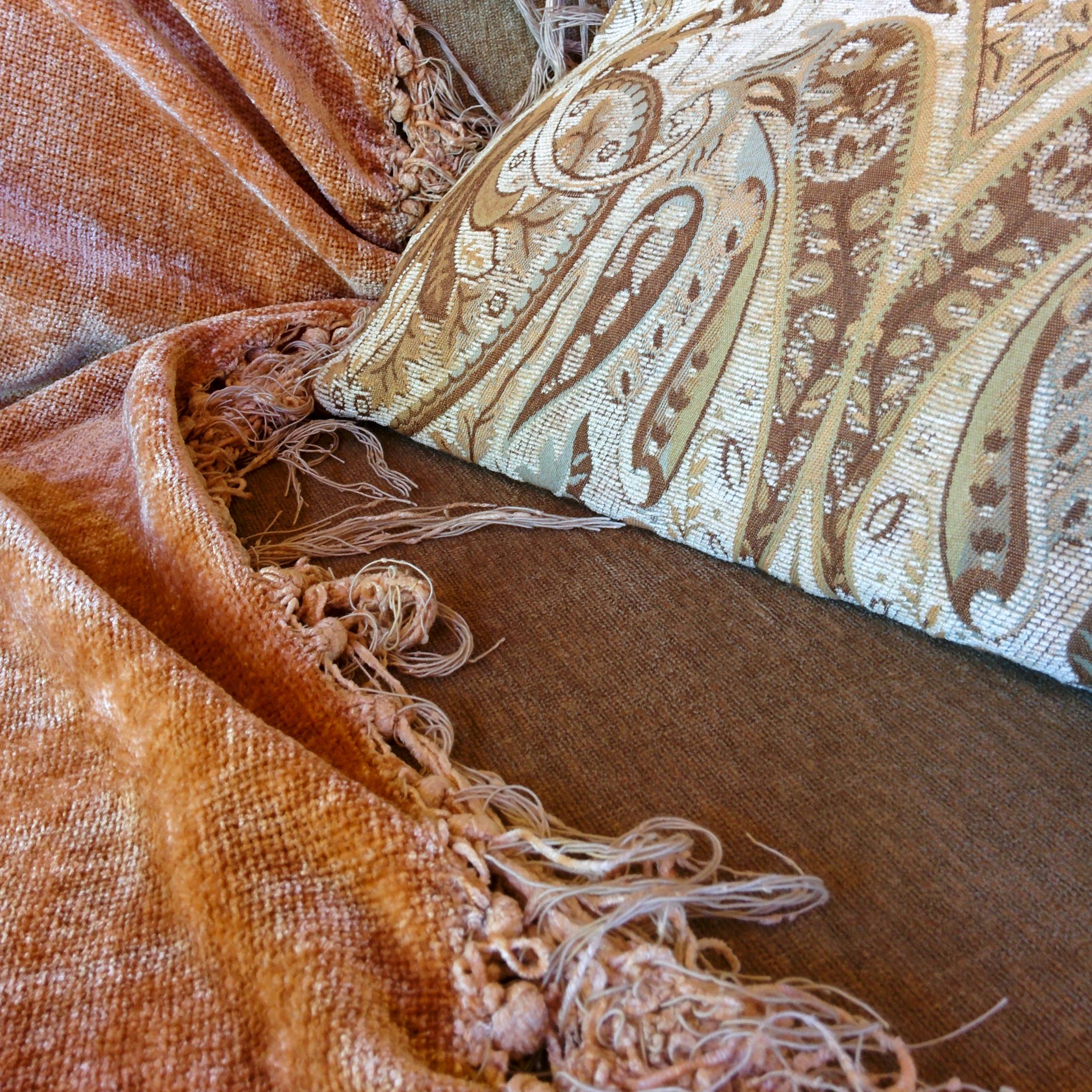 Pillow and Velvet Throw on Sofa