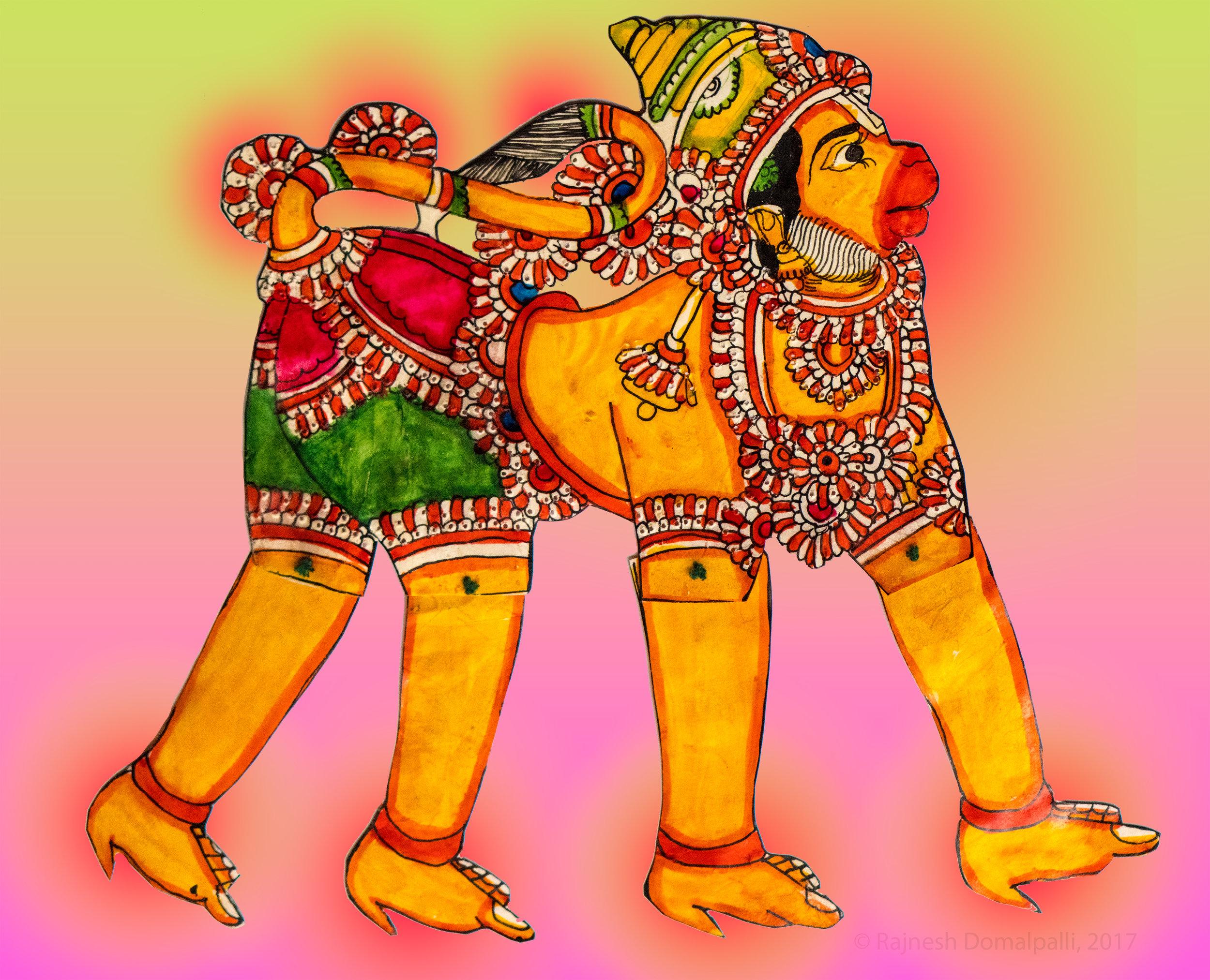 Sri Hanuman Leather Puppet from Andhra Pradesh, India
