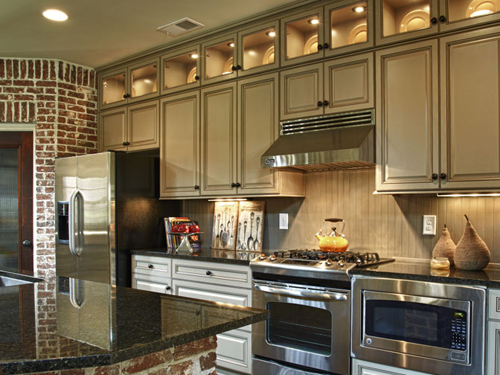 KITCHENS & BATHS  (20 images) - pictures of the Eudora line of cabinets with various finishes and styles.
