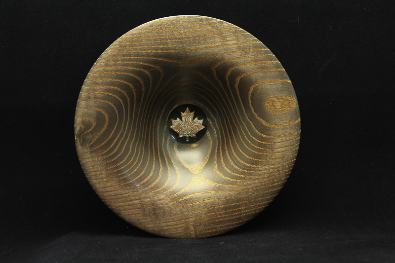 Gilded Ash Bowl with Copper Maple Leaf Inlay $125