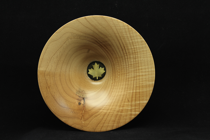 Maple Bowl with Brass Maple Leaf $120