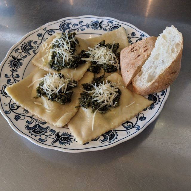 Pesto cream over house-made spinach ravioli tonight! ($14) Our kitchen is on a pasta kick lately!