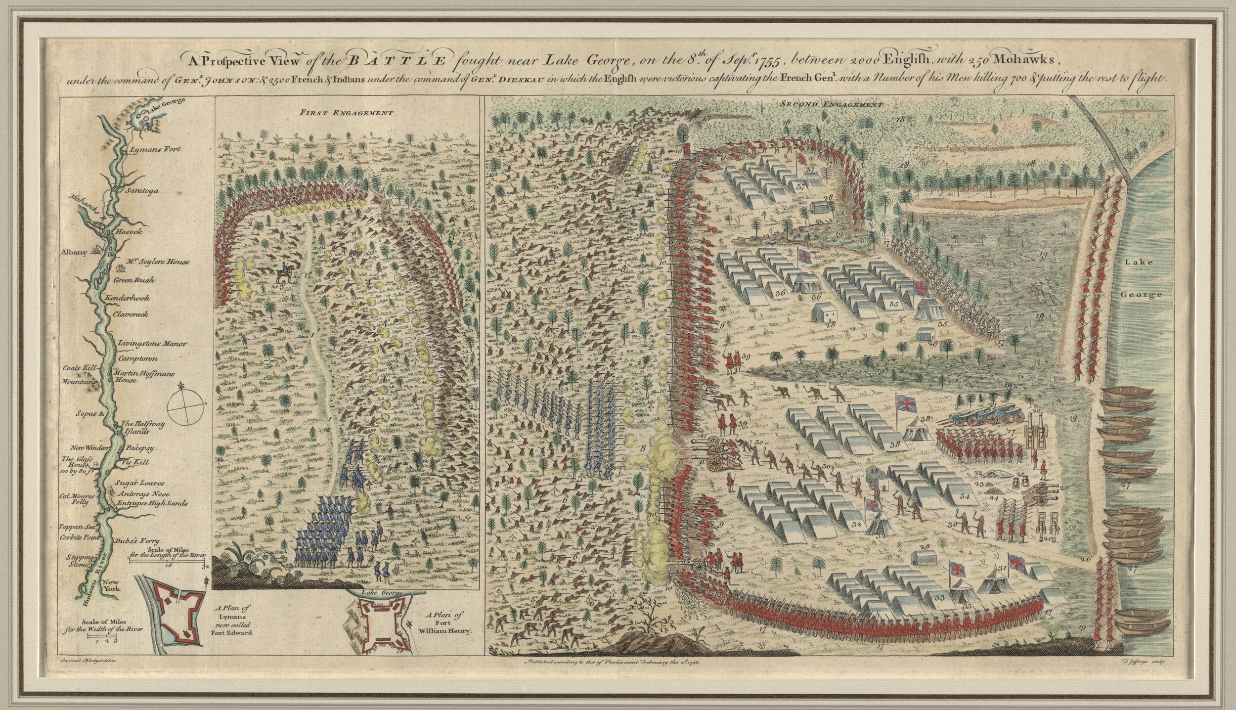 Samuel Blodget, A Prospective View of the Battle Fought near Lake George London, 1756. Engraving, hand colored, Richard H. Brown Collection, Norman B. Leventhal Map Center.