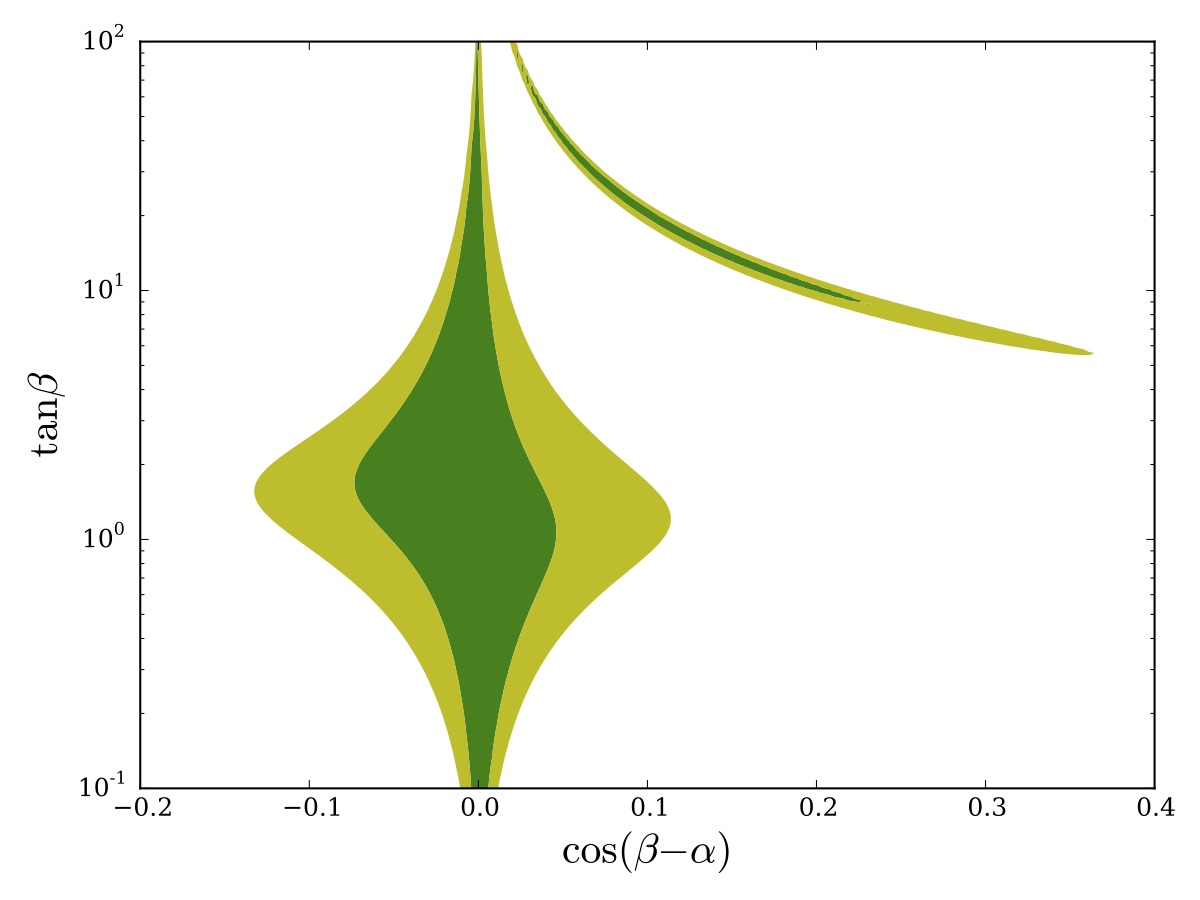 Experimental constraints on Higgs parameters in Leptophilic Model.