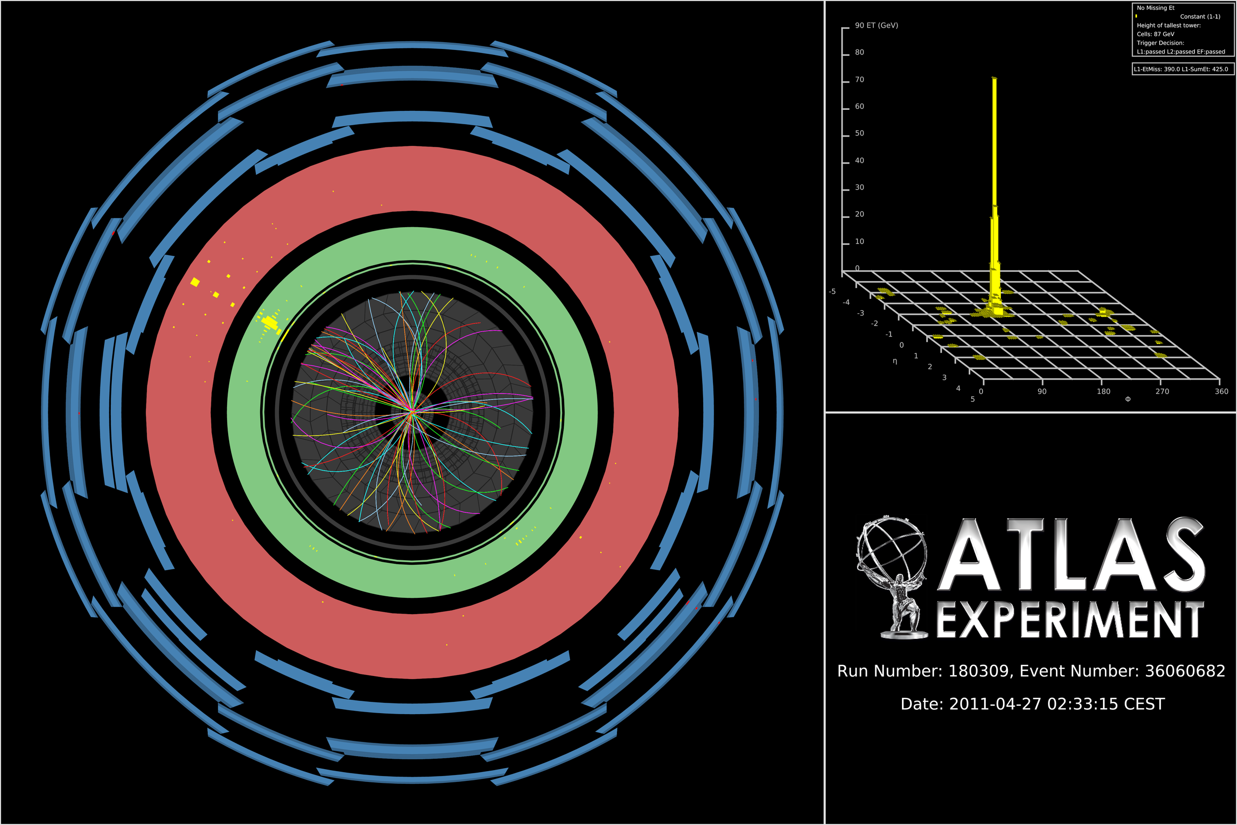 ATLAS event display showing one monojet event recorded during the 7 TeV collisions.