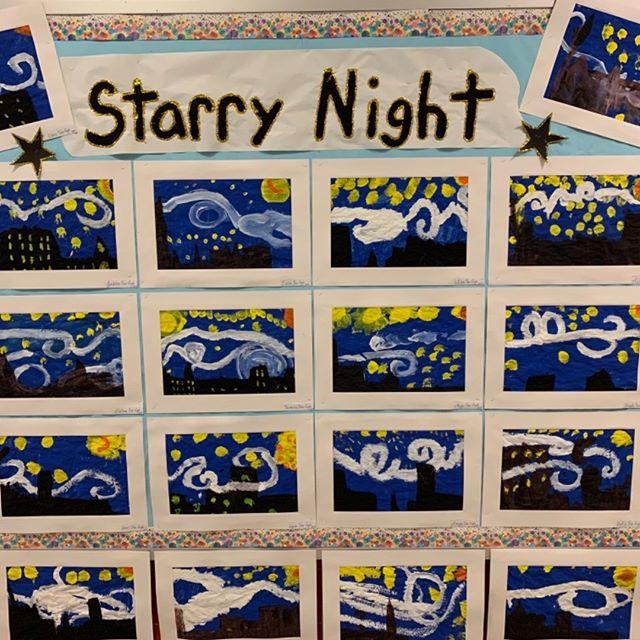 Pre-K 109's beautiful interpretation of Vincent Van Gogh's Starry Night! 🌌 ⭐️
