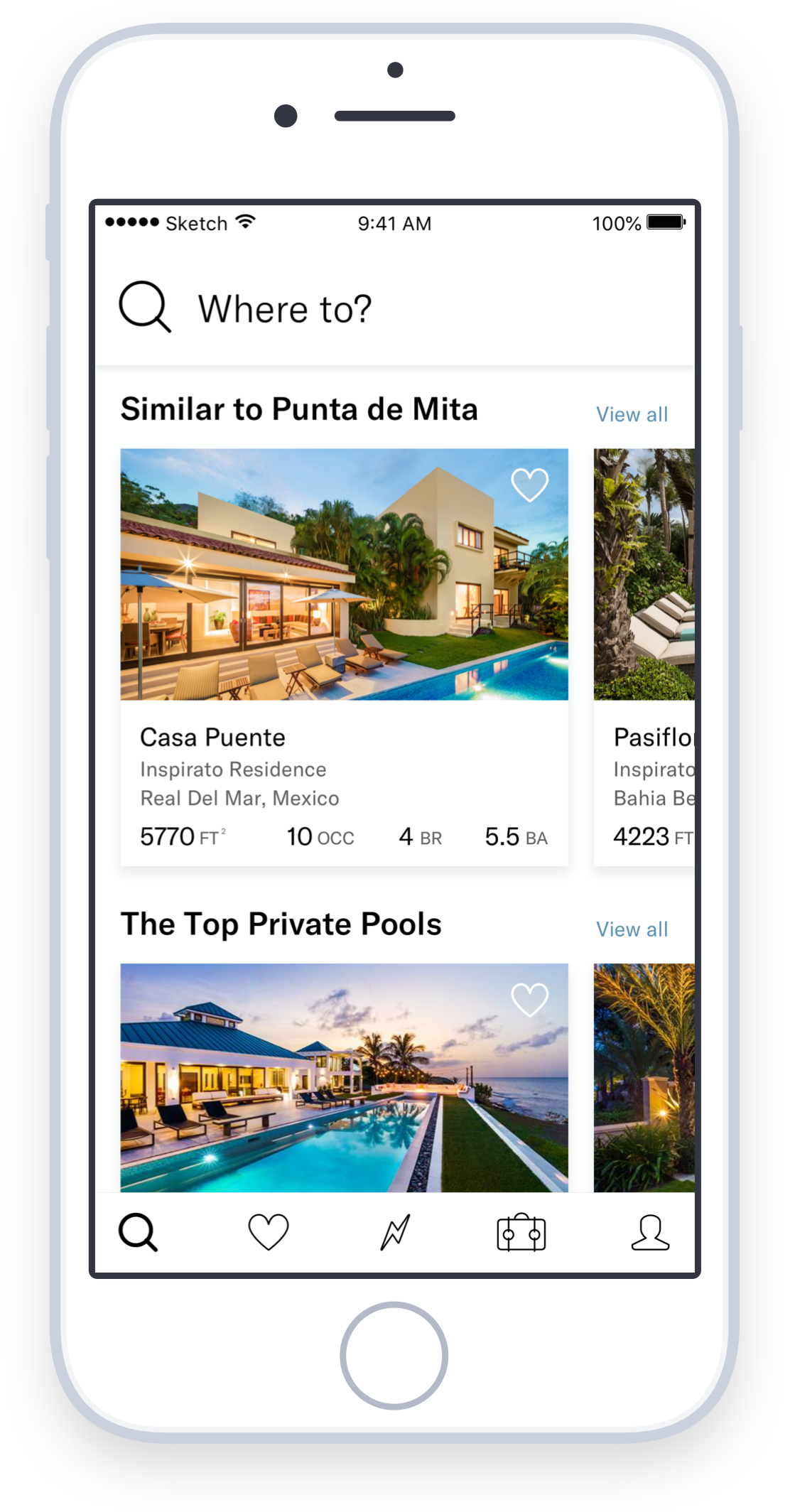 Homes at the core of the experience - The original version of the app put destinations at the core of the experience. However, we discovered that people really wanted to see our homes. Now, instead of opening the app and seeing generic pictures of a beach in Mexico or a mountain in Colorado, people see what they joined Inspirato for—the impressive collection of luxury vacation homes.