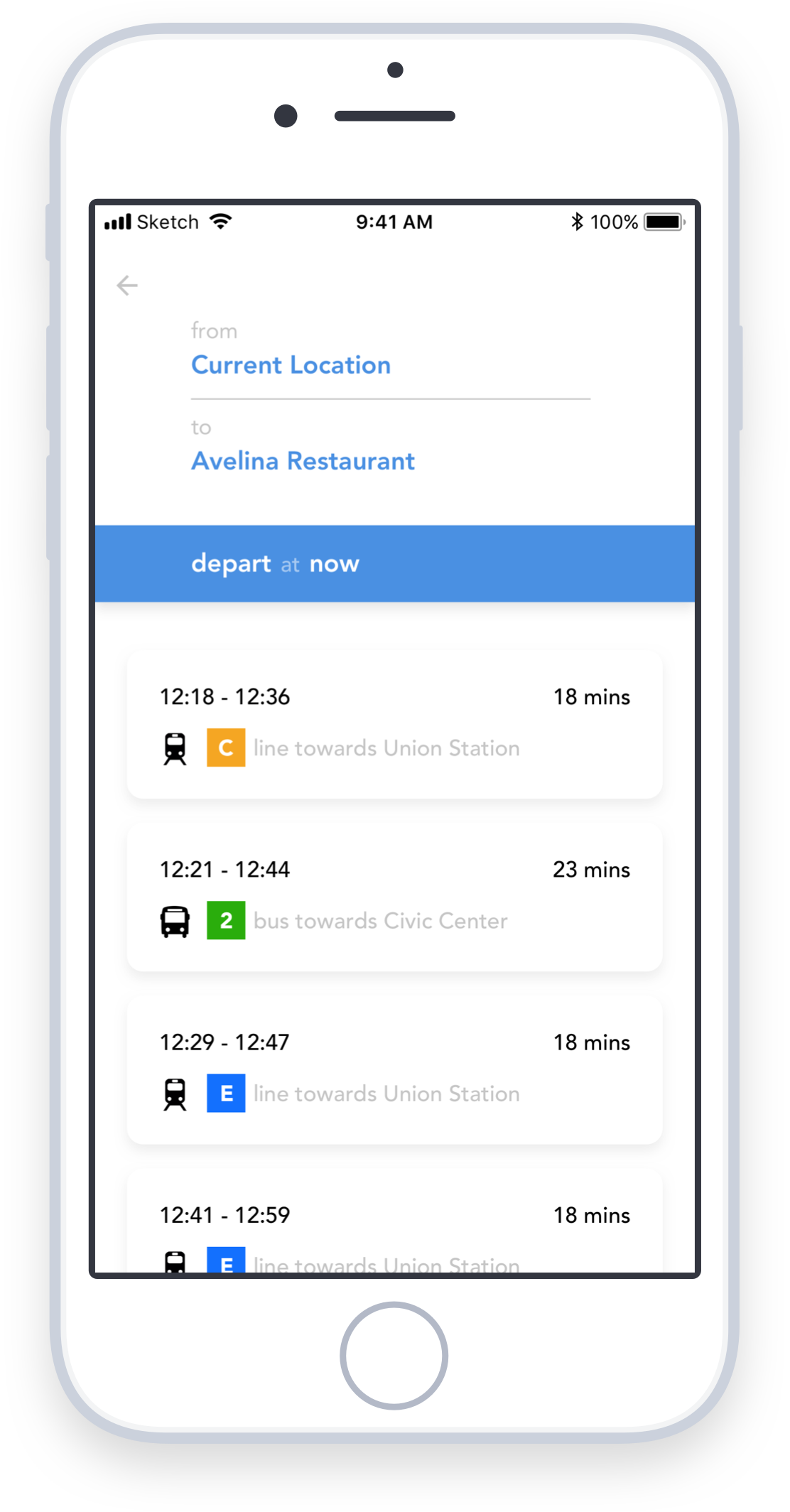 Enter the destination and see all ways public transit can get you there - With RTD Beacon, users are can quickly enter their start and end destination, as well as desired departure or arrival time to see the various transit routes to get them where they are going.