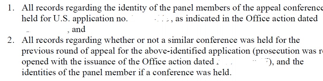 Portion of FOIA request, redacted to remove serial number and dates of Office actions