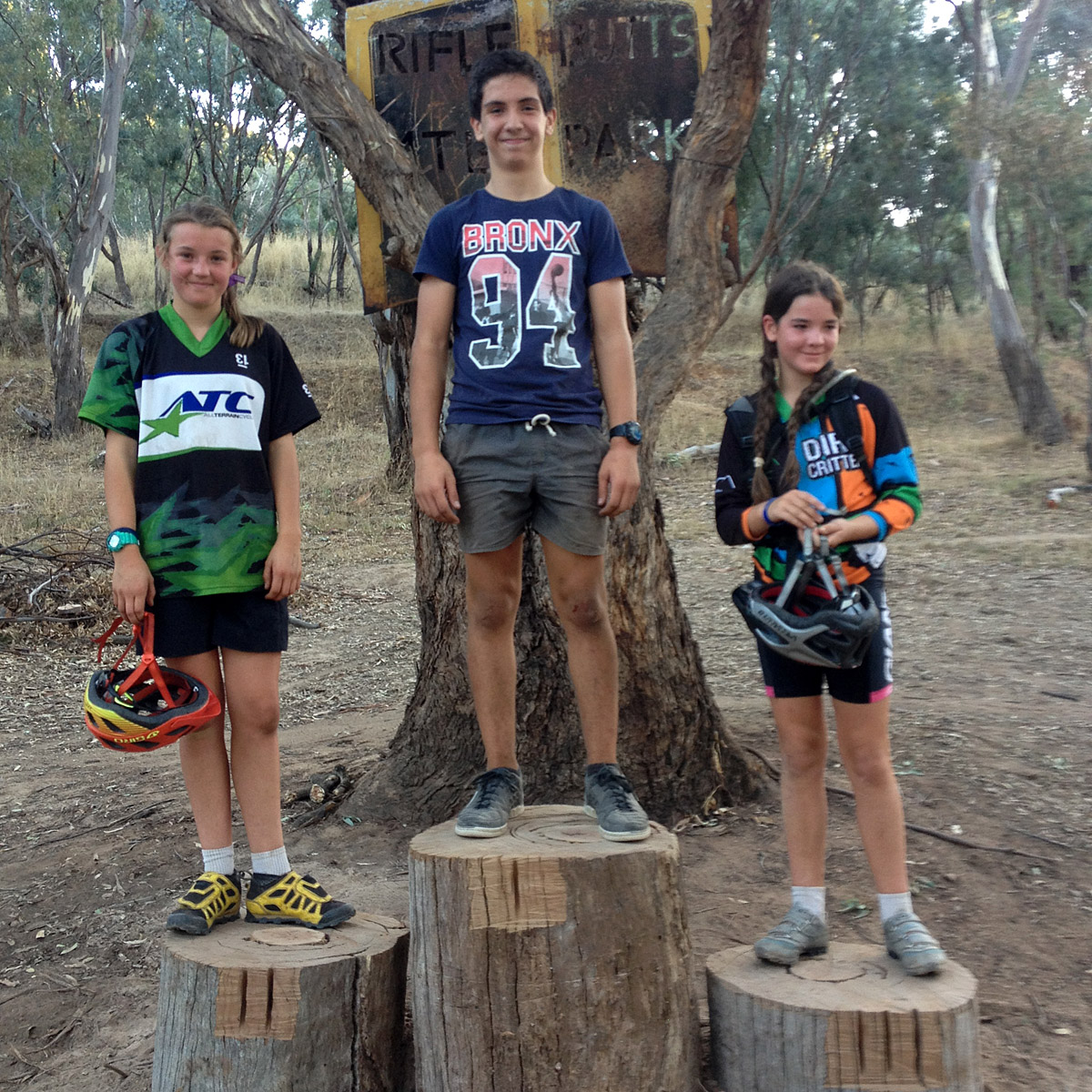 The under 15s podium: 2. Elise Empey; 1. James Griffin; 3. Ruby Dobson.