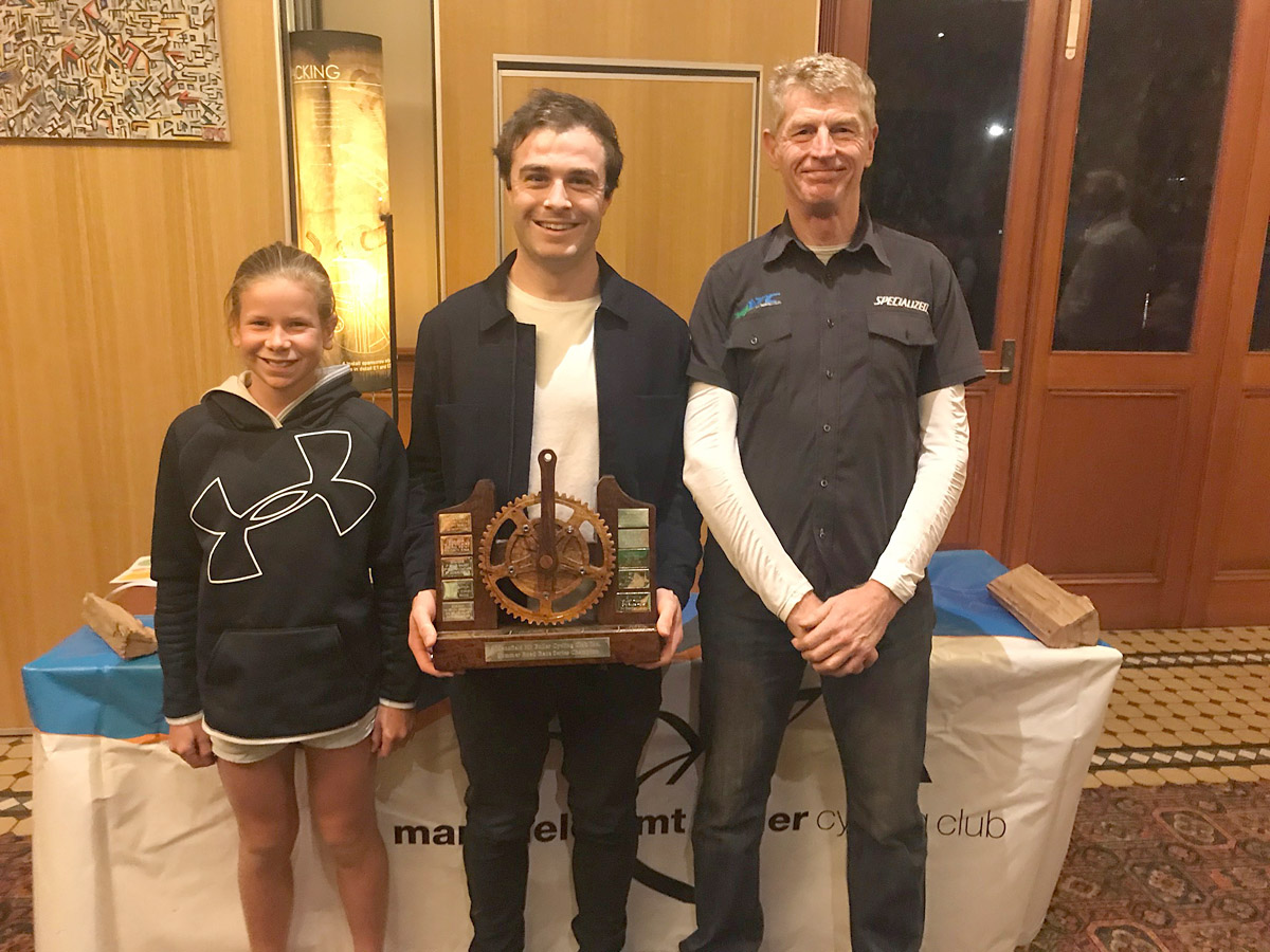 Summer Road Series Championship, from left to right: 2nd Talia Appleton, 1st Dan Purcell, 3rd, Bruce Halket.