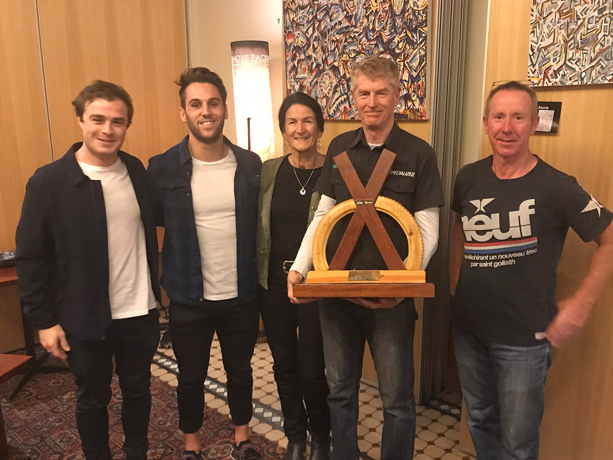 Alain Guerin Crossover Trophy, from left to right: 3rd Dan Purcell, Alain's grandson Jett Guerin, Alain's wife Coral Guerin, 1st Bruce Halket, 2nd Damian Grundy.
