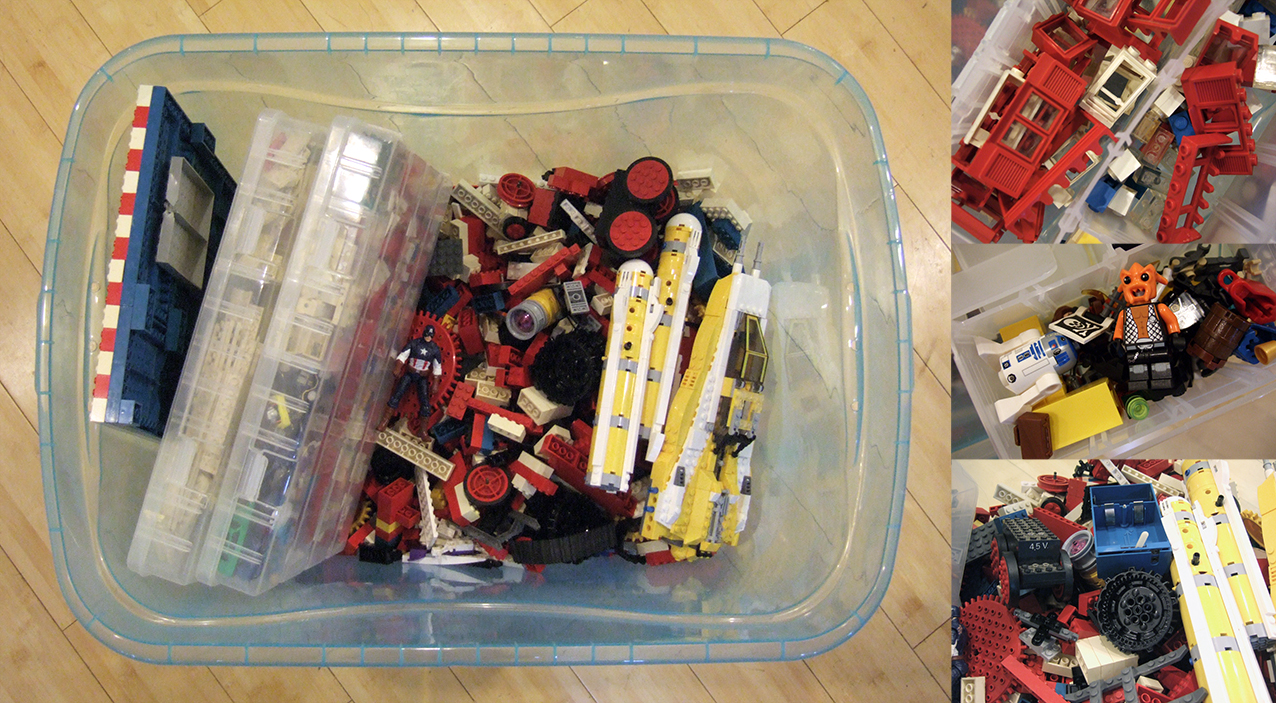 At just $40, this volume of Legos (even used) is a really great deal! There's a mix of vintage, Star Wars, City, Ninjago, and Power Functions Motor parts, in here. Other toys are included as well, such as this Captain America Action figure, some Hot Wheels toy cars, army men of different sizes, and some infant-safe Mega Blocks...