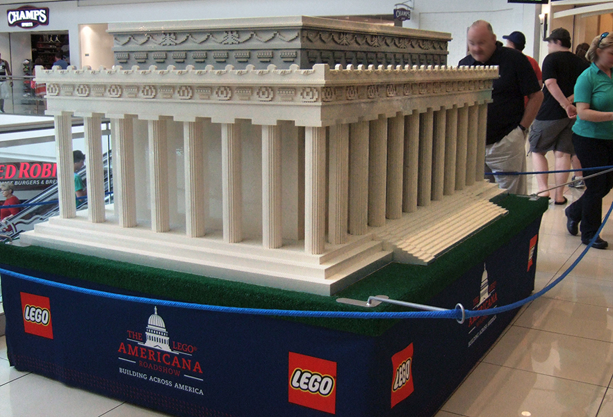 Lincoln Memorial, 475 hours to assemble at 1:25 scale. Lincoln is clearly visible, and so are the pennies and nickels people have thrown inside!