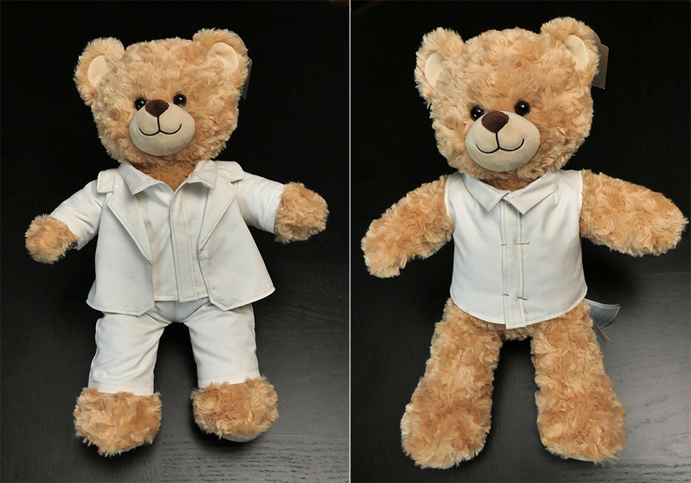 To assemble an outfit like this one, you bear needs a shirt. I'll show you how to follow the sewing pattern to make one for yourself!