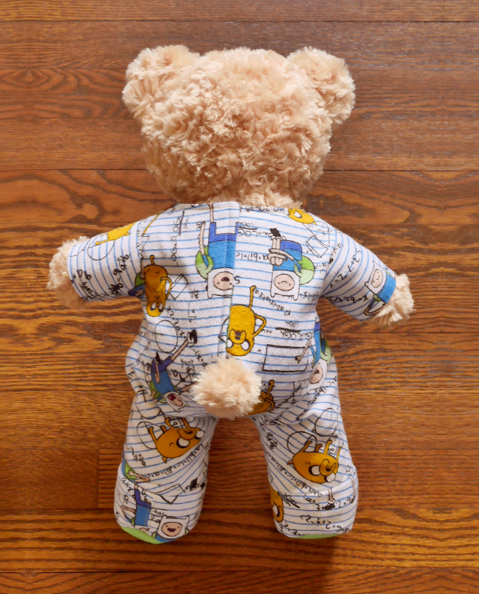 A finished pair of BAB Footie Onesie Pajamas, as seen from the back.