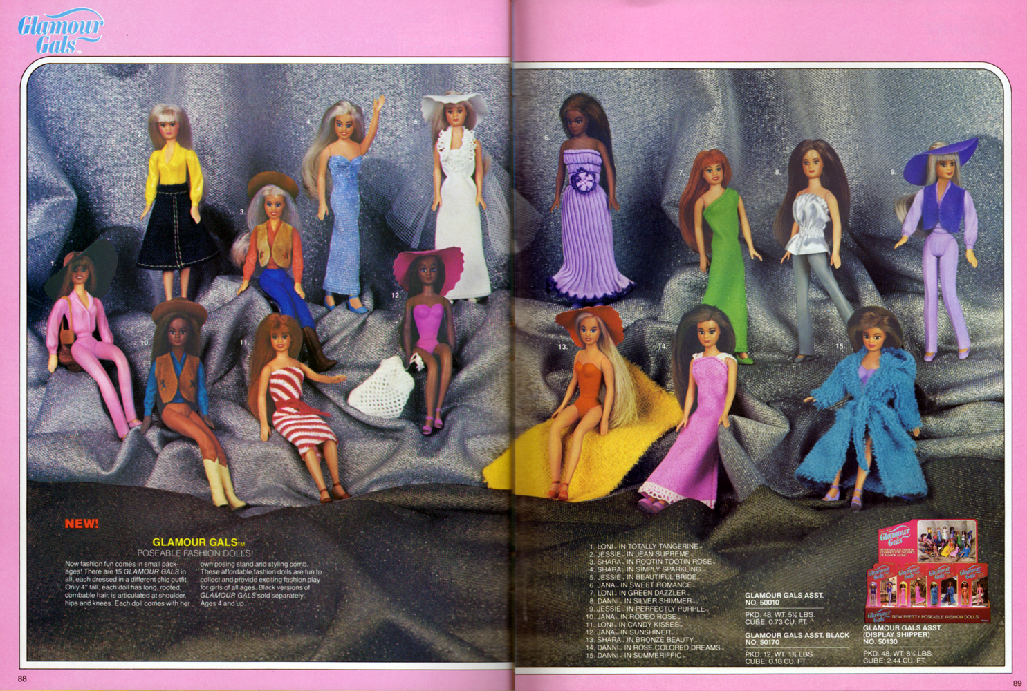 Glamour Gals, poseable fashion dolls assortment from Kenner Products, 1981.